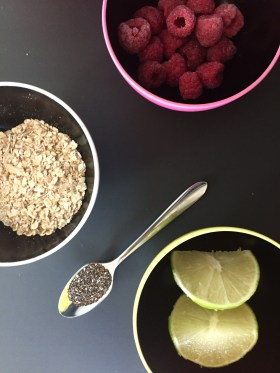 Ingredients: raspberries, oats, chia seeds and lime